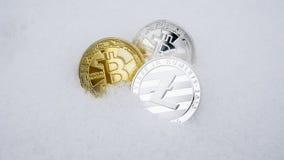 Litecoin y cryptocurrency de los bitcoins en nieve El concepto de trabajar independientemente, la bolsa de acción Bitcoin del oro Imagenes de archivo