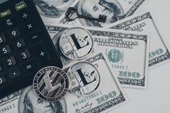 Litecoin złoty menniczy Nowy wirtualny pieniądze Obrazy Stock