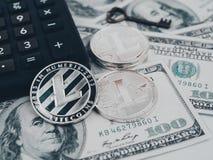 Litecoin złoty menniczy Nowy wirtualny pieniądze Zdjęcie Stock