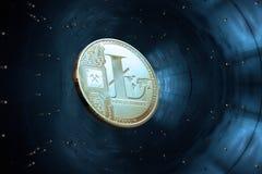 Litecoins criptos da moeda do ouro no azul Imagem de Stock