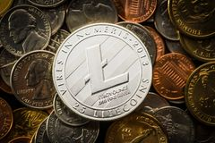 Litecoins. Digital cryptocurrency. Stock Images