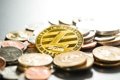 Litecoins. Digital cryptocurrency. Royalty Free Stock Images