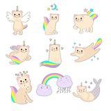 Liten änglalik kattunge med en regnbåge royaltyfri illustrationer