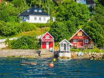 Liten ö i den Oslo fjorden, Norge Royaltyfria Foton