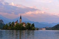 Liten ö med katolska kyrkan i den blödde sjön, Slovenien Royaltyfria Bilder