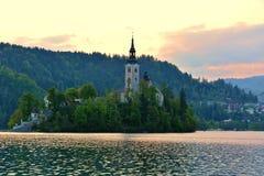 Liten ö med katolska kyrkan i den blödde sjön, Slovenien Royaltyfria Foton