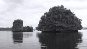 Liten ö på passageområdet i Gam Islands, Raja Ampat, västra Papua, Indonesien Royaltyfria Bilder