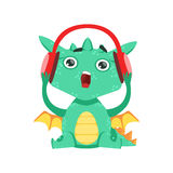 Liten Animestil behandla som ett barn den Emoji för teckenet för den Dragon Listening To Music With hörlurartecknade filmen illus royaltyfri illustrationer