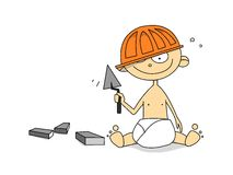 liten arbetare för instrument stock illustrationer