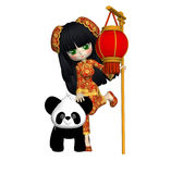 Liten asiatisk flicka och hennes Panda Posers Clipart Royaltyfri Foto