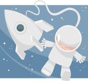 Liten astronauttecknad filmillustration Fotografering för Bildbyråer