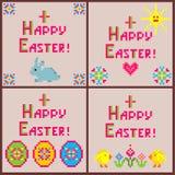 Liten barnslig samling för linneservetter med broderi för påsk med färgrika den äggformer, kaninen, höna, blommor, solen och hea vektor illustrationer