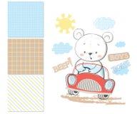 Liten björn i bil Yttersidamodell och sömlös modell 3 royaltyfri illustrationer