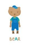 Liten björn i overaller, konstillustration Kort med modedjur Fotografering för Bildbyråer