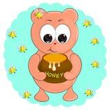 Liten björn med honung den fr?mmande tecknad filmkatten flyr illustrationtakvektorn vektor illustrationer