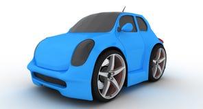 liten blå bil 3d arkivbild