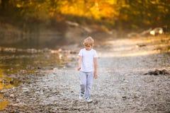 Liten blond pojke som spelar på flodstranden Höst i den gula skogen Arkivfoto