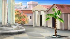 Liten borggård av en forntida tempel Royaltyfri Bild