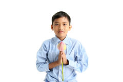 Liten buddistisk pojke Royaltyfri Bild