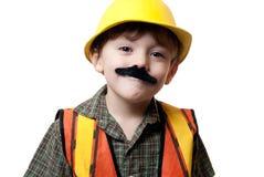 Liten byggnadsarbetare Arkivbild