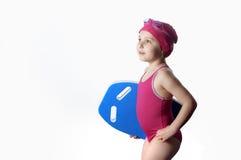 Liten caucasian 6 år gammal simmare Royaltyfria Bilder