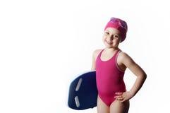 Liten caucasian 6 år gammal simmare Royaltyfri Fotografi
