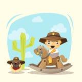 Liten cowboy och vän stock illustrationer