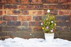 Liten dekorerad övergiven jultree Royaltyfri Foto