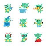 Liten Dragon Everyday Activities And Emotions uppsättning royaltyfri illustrationer