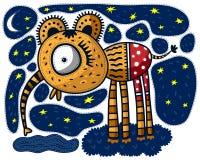 Liten elefant och måne Arkivfoton