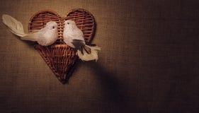 Liten fågel två vännerna, hjärta Arkivfoto