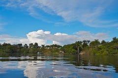 liten by för amazon kustflod Arkivfoton