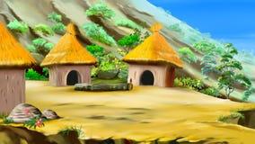 liten by för berg Arkivbild