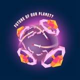 Liten för jordvektor för planet 3d illustration för begrepp Royaltyfri Bild