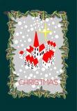 Liten by för jul i snö arkivbild