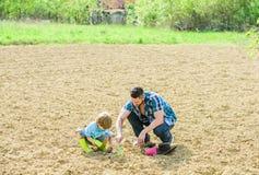 liten fader f?r pojkebarnhj?lp, i att bruka ny livstid jorder och g?dningsmedel fader och son som planterar blommor i jordning arkivbilder