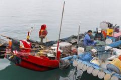 Liten fishboat på färjan av Yilan County, taiwan Fotografering för Bildbyråer