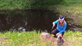 Liten fisk för lycklig gravid flickamatning för hennes gulliga husdjur för strimmig kattkatt lager videofilmer