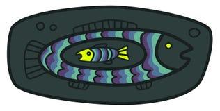 Liten fisk i en stor fisk Stock Illustrationer