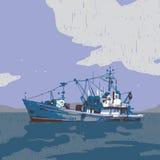 Liten fiskebåtdiagramillustration vektor illustrationer