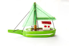 Liten fiskeskeppmodell Fotografering för Bildbyråer