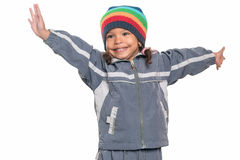 Liten flicka för blandat lopp som erbjuder en kram Arkivfoton