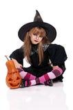 Liten flicka i den halloween dräkten Royaltyfri Bild