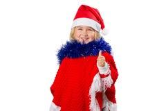 Liten flicka i en hatt Santa Claus på vit bakgrund Arkivfoto