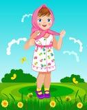 Liten flicka i en sjalett Fotografering för Bildbyråer