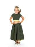 Liten flicka i en smart klänning Arkivbilder