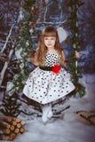Liten flicka i härligt klänningsammanträde Royaltyfri Foto