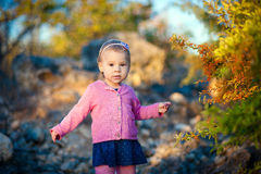Liten flicka i orange bär för en rosa omslagshandlagpenna på busken Royaltyfri Foto