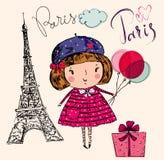 Liten flicka i Paris Arkivfoto