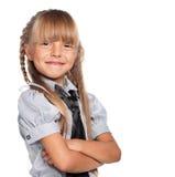 Liten flicka i skolalikformig Royaltyfria Bilder